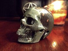 Plumite Crystal Skull  altar decor skull by EsotericAromas on Etsy