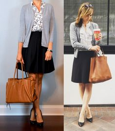 outfit post: dandelion short sleeved utility blouse, grey cardigan, black a-line…