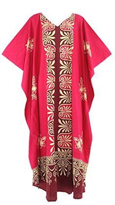 Beautybatik Fuchsia Cotton Batik Caftan Kaftan Long Maxi Dress -- Be sure to check out this awesome product. Plus Size Long Dresses, Batik Dress, Kaftan, Lounge Wear, Kimono Top, Cotton, Clothes, Awesome, Tops