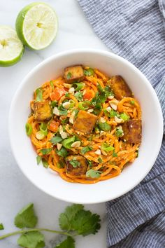 Thai Sweet Potato Noodles with Peanut Sauce and Crispy Baked Tofu | a healthy low-carb meal that's packed with flavor! grain-free, gluten-free and vegan
