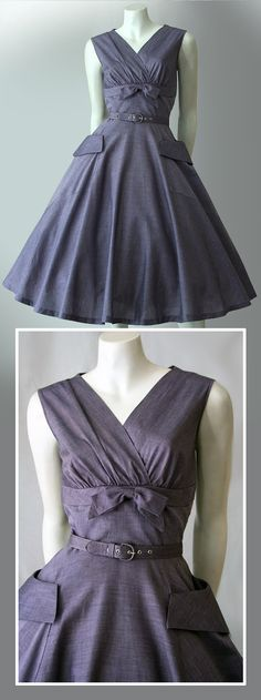 Dusty lilac dress, of cotton with slight sheen, 1950s | Vintage Clothing