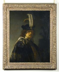 Rembrandt van Rijn, self-portrait wearing a white feathered bonnet, at Buckland Abbey. NT810136 ©National Trust/Steve Haywood