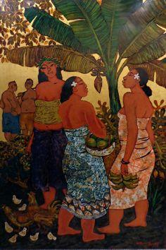 "Tim Nguyen, ""Under Banana Tree"" Hawaiian Goddess, Family Tree Poster, Artistic Visions, Polynesian Art, Hawaiian Art, Hula Dancers, Caribbean Art, Tree Artwork, Tree Illustration"