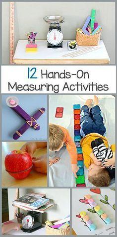 Math for Kids: 12 Hands-on Measuring Activities for preschool, kindergarten, and first grades!