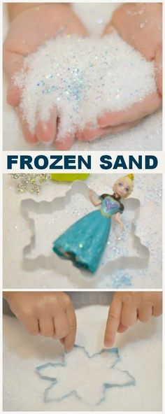 Make your own Frozen Sand- The sand feels like grains of ice & shimmers and sparkles with intensity, yet acts just like traditional sand from the beach  | Disney Party |