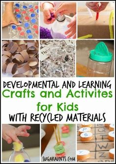 Developmental and learning crafts and activites for kids made with recycled materials. By Sugar Aunts