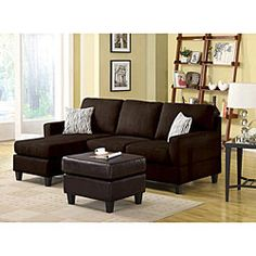 @Overstock - Microfiber Chocolate Reversible Chaise Sectional Sofa - Customize your living space with this reversible microfiber chaise sectional sofa that features three separate configuration options. The chocolate color will fit into many dcor schemes, whether you like modern or traditional designs.    http://www.overstock.com/Home-Garden/Microfiber-Chocolate-Reversible-Chaise-Sectional-Sofa/4871753/product.html?CID=214117  $698.99