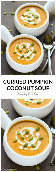 Curried Pumpkin Coconut Soup - A luxurious, subtly-spiced soup that is gluten-free, dairy-free, vegan, paleo and ready to eat in just 20 minutes! | http://EverydayEasyEats.com