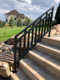 Step Railing Outdoor, Outside Stair Railing, Wrought Iron Porch Railings, Exterior Stair Railing, Outdoor Stair Railing, Front Porch Railings, Front Stairs, Outdoor Steps, Deck Railings