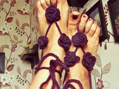 Gypsy roses barefoot sandals in deep purple color. #Crochet of  luxury organic cotton and chashmere blend yarn.   Bohemian summer foot jewelry; boho beach party sandals  Fit... #handmade #craft #etsy #shopping #bohemian #crochet