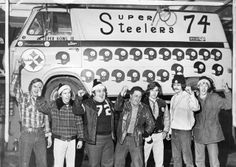 "In January 1975, Steelers fan Pat Savage and six of his pals (second photo on the right) followed the team to New Orleans for Super Bowl IX. They didn't have tickets. Their conveyance was a converted black and gold '61 Conestoga. They called themselves 'The Savage Crew.'  ""The van was a moving testament to their heroes. Insignia of helmets, hails and numbers (Bradshaw's  No. 12 was up front) tattooed the black and gold shell. Inside were curtains, converted seats from a Corvair and Chevy…"