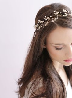 Dainty beaded fern leaf hair vine - Style # 417