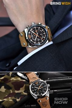 This cool army chronograph wristwatch is powered by a quartz movement, supporting: date, hour, minute, second functions.