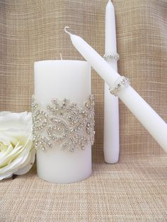 Wedding Candle Set,Crystals wedding unity candle,Wedding Decoration, Ceremony Candles, Vintage Inspired Candle on Etsy, $38.00