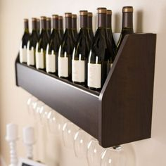 Floating Wine Rack in Espresso - Prepac your finest bottles of wine and liquor with this clever Floating Wine Rack. This wall mounted rack has a compact design to conserve space in your bar, living room, kitchen or dining area. Door Storage, Storage Spaces, Banana Wine, Wine Pull, Wine Meme, Wall Mount Rack, Wine Rack Wall, Wine Decor, Wine Bottle Stoppers