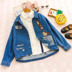 MV Girls Autumn Denim Jacket New Korean Printing Cartoon Lady Princess Cotton Denim