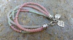 Beaded Bracelet Pastels MULTI Strand Silver by GemsJewelsGirls