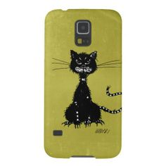 Olive Green Ragged Evil Black Cat Galaxy S5 Covers $42.95 #galaxys5 #s5case #cat