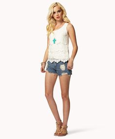 Crocheted Lace Tank | FOREVER21 #Summer #OOTD #Tiered #DestroyedDenim