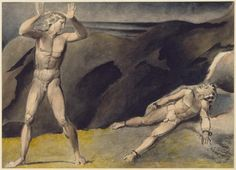 Artwork page for 'Los and Orc', William Blake, c.1792-3 This watercolour shows two of the characters in Blake's mythology. Los has chained his son Orc to a rock in a fit of jealousy. He regrets this too late: Orc's limbs have become rooted in the rock. The sombre mood is conveyed by the dark colour which Blake chose to dominate the scene. He used a pure brown ochre for the entire background. Orc's shadow is a grey wash. The light falling on the figures' flesh is shown with paint mixed from…