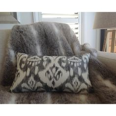 Ikat Cushions Pillows Cushion Cover indoor/outdoor Charcoal Ikat... (€21) ❤ liked on Polyvore featuring home, home decor, throw pillows, decorative pillows, grey, home & living, home décor, charcoal throw pillows, grey throw pillows and grey accent pillows