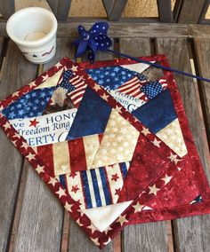 Red Patriotic Mug Rug Set in deep red, white and navy patriotic prints candle mat snack mat