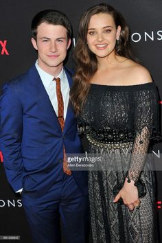 Actor Dylan Minnette (L) and actress Katherine Langford attend the Premiere of Netflix's '13 Reasons Why' at Paramount Pictures on March 30, 2017 in Los Angeles, California.