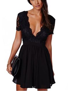 Shop Black V-neck Lace Overlay Backless Short Sleeve Dress from choies.com .Free shipping Worldwide.$19.79