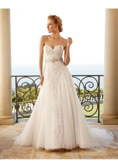 Handmade Tulle Satin A-Line Sweetheart Wedding Dress with Swarovski crystal beaded