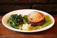 Naked Burger rated top 10 best burger by VegNews #vegnews no bun, sauted dark greens, mushroom burger, lettuce, tomato, and sprouts! #organic #veggie #green #homemade #eastvillage #vegan #nyc #eco #veggieburger #homemadeburger #ogstyle