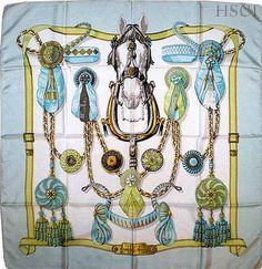 Vintage rare Hermes Scarf Frontaux et Cocardes