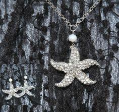 Set of Swarovski/Freshwater Pearl Seastar Starfish by blinggarden, $29.99