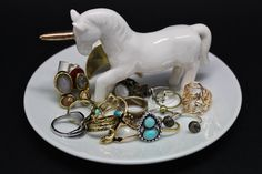Unicorn Jewelry Dish by twomoonsandhannais on Etsy