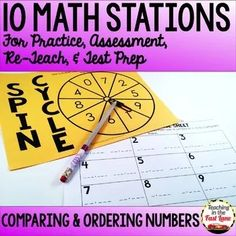 Comparing and Ordering Numbers Test Prep Math Stations Math Lesson Plans, Math Lessons, Math Test Games, 4th Grade Math Test, Numbers Station, Teaching Strategies, Teaching Resources, Ordering Numbers, Number Games