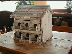 Weathered-White-and-Blue-Painted-Vintage-Rustic-Birdhouse-Garden-Yard-Outdoors