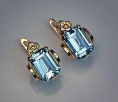 Art Deco Aquamarine Earrings at 1stdibs
