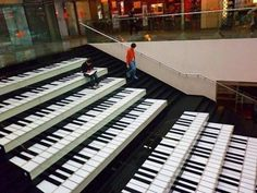 What an #AWESOME concept: steps designed to look like #piano keyboards in a Beijing #ShoppingMall (even though some keys are out of place).