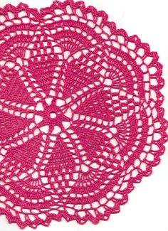 Crochet Doily Lace Magenta Handmade Linen Handcrafted Round