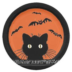 Shop Retro Surprised Black Cat Halloween Plate created by Personalize it with photos & text or purchase as is! Retro Halloween, Halloween Rocks, Halloween Ideas, Halloween Dishes, Halloween Games, Halloween Crafts, Painted Pumpkins, Painted Rocks