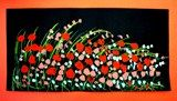 Poppy Fields: Oil pastel for stems and blades of grass and different shades of red/orange paint for poppies