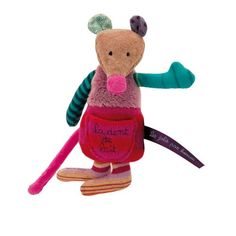 An adorable tooth holder by Moulin Roty. This cute knitted and plush mouse has a pouch pocket to hold a tooth ready for the Tooth Fairy. Toddler Toys, Baby Toys, Tooth Mouse, Tooth Fairy Money, Bed Wrap, Soft Toys Making, French Baby, French Fabric, Le Jolie