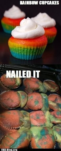 I've actually tried this, and gotten similar results. The rest of these are pretty laughable too lol.  This person whose rainbow cupcakes weren't so lucky: | 24 Bakers Who Totally NailedIt