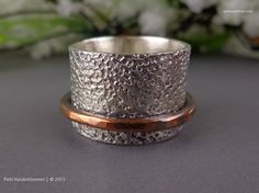 Mixed Metal Sterling Silver and Copper Spinner Ring
