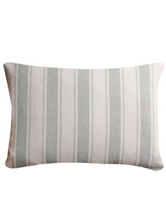 Wide Stripe Linen Lumbar Pillow, Mist