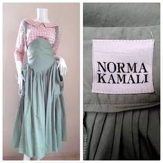Norma Kamali  Green Cotton Suspender jumper dress Skirt Size