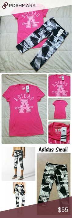 NWT Adidas boxy shirt and capri New Adidas boxy graphic tee & ultra tight capri set. Adidas Pants Capris