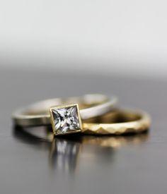 Image of princess moissanite mixed metals set