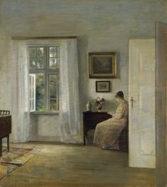 The Reader. Carl Vilhelm Holsøe (Danish, 1863-1935). Oil on panel. As with other Holsøe works depicting readers, there is a simple room and a single figure portrayed, conveying a sense of timelessness and evoking the wistful nature of solitude and introspection. The lady reading by the light of an open window gently blends into the composition as if part of a still life.