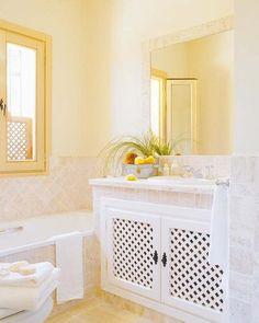 Mueble de lavabo con puertas de celosía Apartment Furniture, Home Living Room, Diy And Crafts, Kitchen Cabinets, New Homes, Bathtub, House, Design, Home Decor