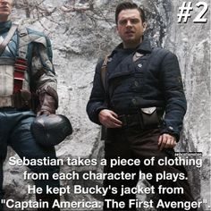 Sebastian Stan takes a piece of clothing from every character he plays. He kept Bucky's jacket from Captain America: The First Avenger .. pinterest:  katepisors